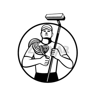 High Rise Window Cleaner With Rope and Squeegee Circle Retro Black and White