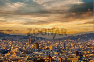 Barcelona cityscape at sunset overlook