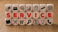 Dice with icons and the word Service