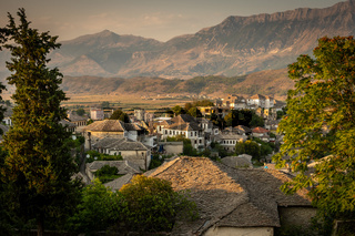 Stone houses at an old town in Gjirokaster, Albania