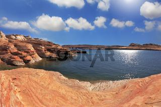 Photo taken fisheye lens. The Lake Powell