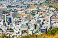 Elevated view of Cape Town South Africa Central Business District and surrounds