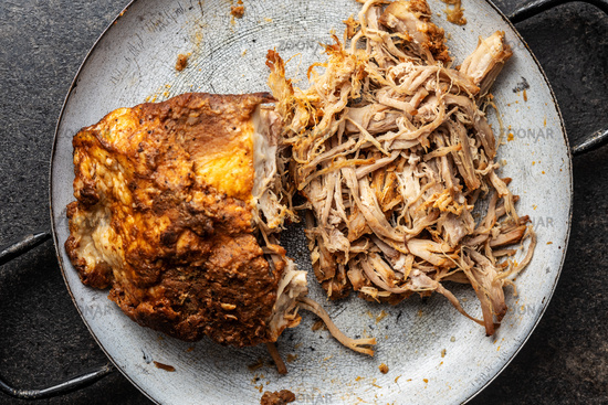 Pulled pork meat.