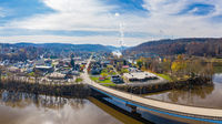 Point Marion from drone with Fort Martin coal power station on River Monongahela in the background