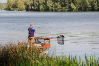 Fisherman on the Dnieper River in Kiev, Ukraine