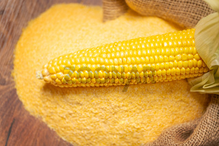 Ripe young sweet corn cob and cornmeal close up
