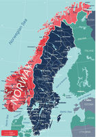 Norway country detailed editable map