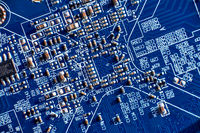 printed circuit Board with chips and radio components electronics