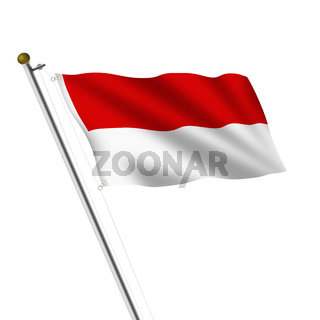 Indonesia Flagpole 3d illustration on white with clipping path