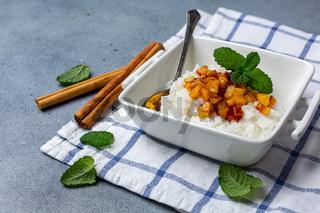 Almond milk rice porridge. Vegetarian Breakfast.