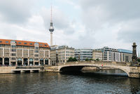 Cityscape of Berlin from Museum Island with Spree river