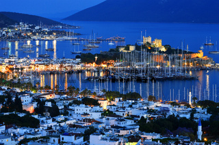View of Bodrum harbor by night. Turkish Riviera.