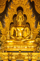 Ancient golden Seated Buddha Statue