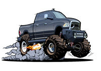 Vector Cartoon 4x4 pickup isolated