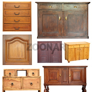 old beautiful wooden furniture isolated object collection