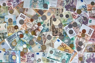 Money Banknotes and Coins From Many Countries