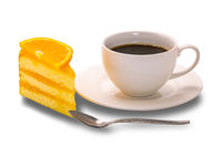 Orange cake and a cup of black coffee.