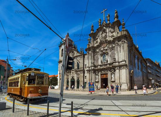 PORTO, PORTUGAL - SEPTEMBER 09, 2016: Tram in old town on September 09, 2016 in Porto, Portugal