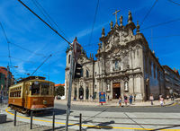PORTO, PORTUGAL - SEPTEMBER 09, 2016: Tram in old town on September 09, 2016 in Porto, Portugal