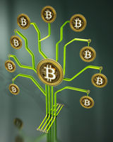Fictitious crypto coins hanging on PCB tree branchs. 3D illustration
