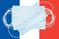 Group protective medical surgical face masks on background colors flag of France or French Tricolour