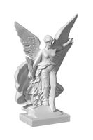 Beautiful young woman angel statue with a white background