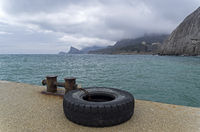 Black Sea coast on a cloudy day. Crimea.