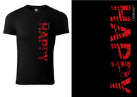 Black T-shirt Design with Red Text HAPPY