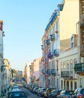 Cars Old Town street Lisbon