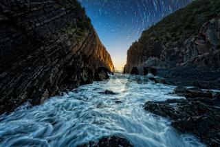 Rocky ocean chasm of Barrington Coast