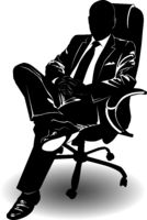 Silhouette of a man in a business suit sitting on an armchair