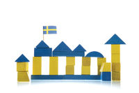 Swedish building with flag