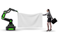 Business people and blank poster supported by robotic arms