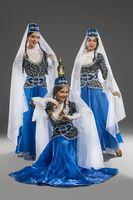 Beautiful girls in georgian dresses view