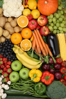 Obst, Früchte und Gemüse wie Apfel, Orange Hintergrund