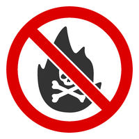 Flat Raster No Mortal Fire Icon