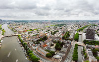 Amsterdam cityscape drone view from above in summer