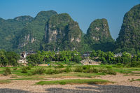 Karst peaks on the shore of Li River in Yangshuo