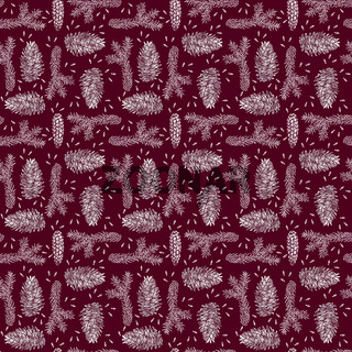 Spruce seamless pattern isolated on red. Picea branch, cone, seed.