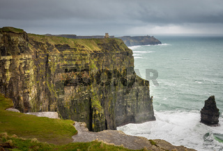 Cliffs of Moher on stormy day