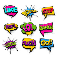 Comic text collection sound effects pop art style