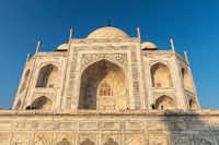 Taj Mahal marble facade view, Agra, India