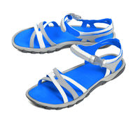 Pair of summer sandals on white background
