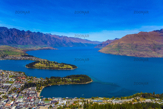 The city Queenstown. Bird's eye view
