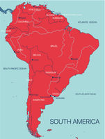 South America continent vector map