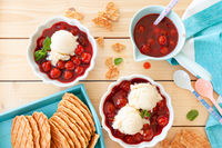 Vanilla ice cream with cherries