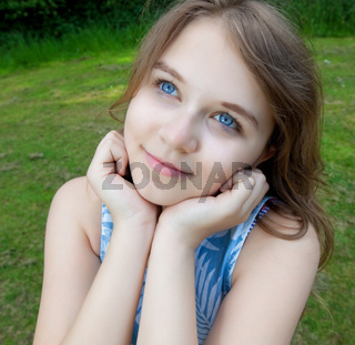 young girl looking