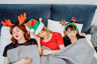 Gorgeous Female Models Sleeping After Pajamas Party