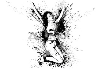 Dancing Girl with Ink Stains and Splashes on White