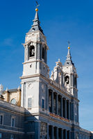 Beautiful view of Cathedral of La Almudena in Madrid